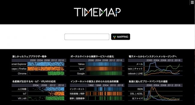 """伸縮自在な年表を表示する検索エンジン """"TIMEMAP"""""""